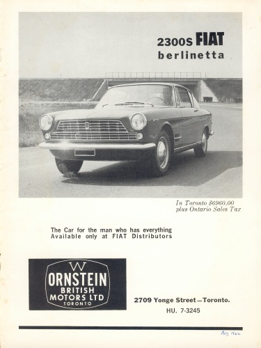 "August 1962 advertisement for the ""2300s Fiat Berlinetta"" from Canada"